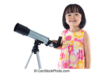 Asian Chinese little girl with telescope