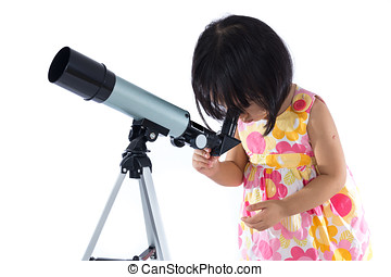 Asian Chinese little girl with telescope in isolated white...