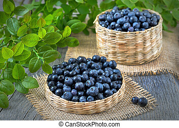Fresh bilberry in a wicker basket