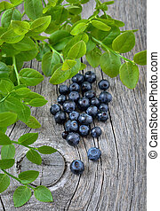 Fresh bilberry on wooden background