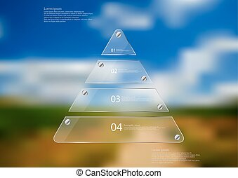 Illustration infographic template with glass triangle on blurred photo background