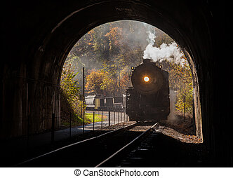 Steam locomotive enters tunnel - Old steam train pulling...