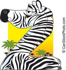 Animal Alphabet Z - A portrait of a zebra with a dessert...