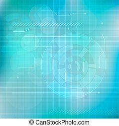 Abstract light blue technology background design with abstract shapes and glow