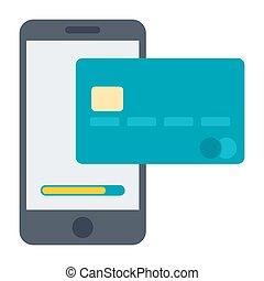 mobile, bancario, illustrazione