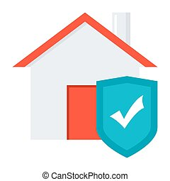 Home Insurance Concept - House with shield concept for home...