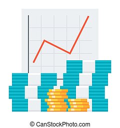 Vector Bookkeeping Concept - Bookkeeping concept with growth...