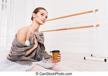 Portrait of pretty girl posing in ballet studio - Feeling...
