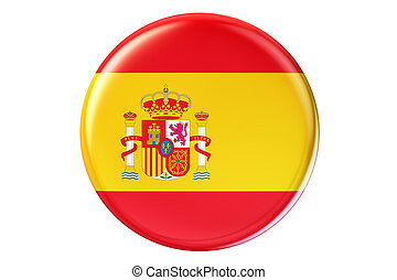 Badge with flag of Spain, 3D rendering isolated on white...