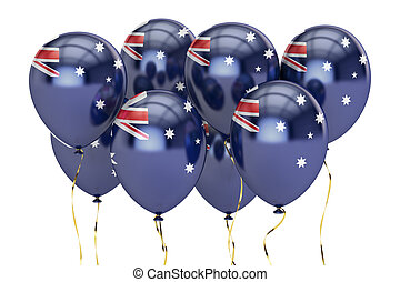 Balloons with flag of Australia, holyday concept. 3D...