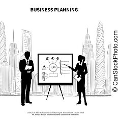 Business Plan Presentation. - Businessman and businesswoman...