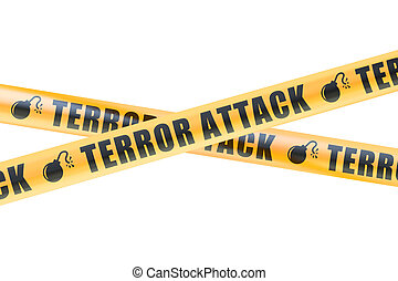 Terror Attack Caution Barrier Tapes, 3D rendering