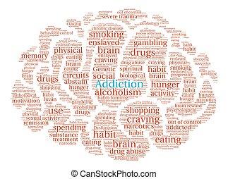 Addiction Brain Word Cloud - Addiction Brain word cloud on a...