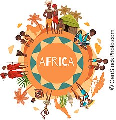 African Cultural Symbols Round Composition Poster - African...