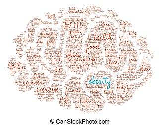 cerebro, obesidad, palabra, nube