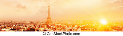 View of Eiffel tower and Paris. - Sunset Eiffel tower and...