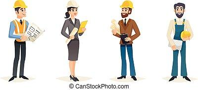 Engineers Cartoon Set - Engineers cartoon set with civil...