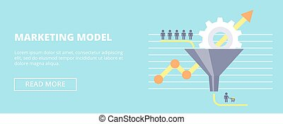 Marketing Model horizontal banner with sales funnel and flow...