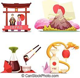 Japan Culture 4 retro Compositions Set