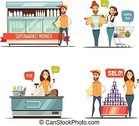 People in Supermarket Cartoon Icons Collection - Shopping in...