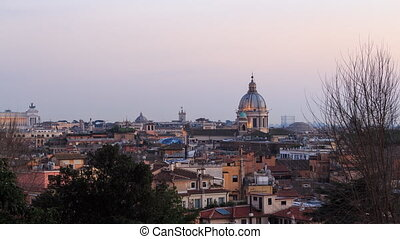 Rome's rooftops, after sunset. Italy. Time Lapse. UltraHD...