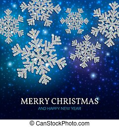Christmas banner silver snowflakes on a blue background