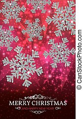 Christmas banner silver snowflakes on a red background