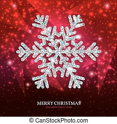 Christmas banner silver snowflake on a red background