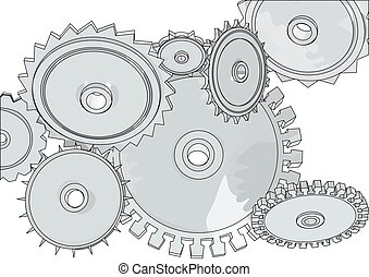 abstract metall gears isolated on a white background