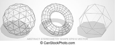 Set of Abstract stereometry shape: sketched Geosphere,...