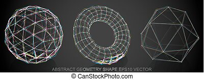 Set of Abstract geometry shape: sketched Geosphere, Torus,...