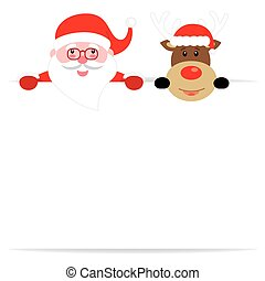 Santa claus and reindeer with poster