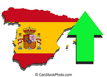 Spain map on white background and green arrow up