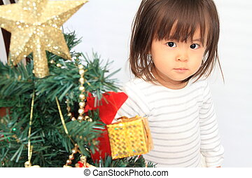 Christmas tree and Japanese girl (2 years old)