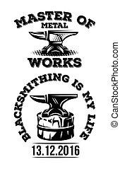 Set of vintage blacksmith label with anvil. Vector...