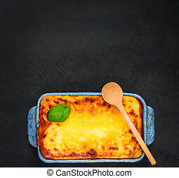 Baked Lasagna on Copy Space Text Area - Baked Lasagna Pasta...