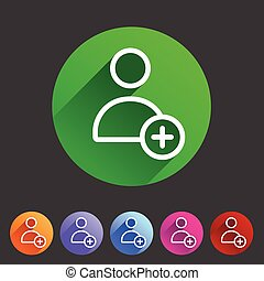 add user avatar icon flat web sign symbol logo label set