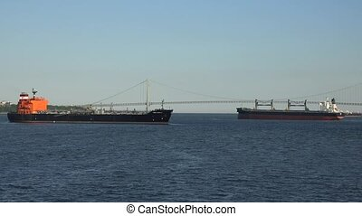 Cargo Ships And Suspension Bridge