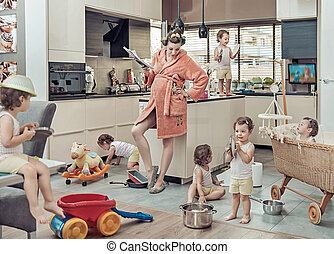 Conceptual image of exhausted mom with her misbehaving child...