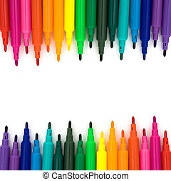 Back to school - Colorful markers on a white background,...
