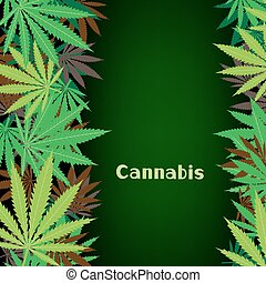 cannabis hemp background - Cannabis text on hemp marijuana...