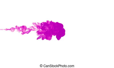 violet paint dissolved in water on a white background. 3d render. voxel graphics. computer simulation 6