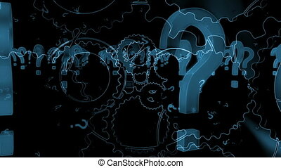 Question marks and gears in black and blue loop