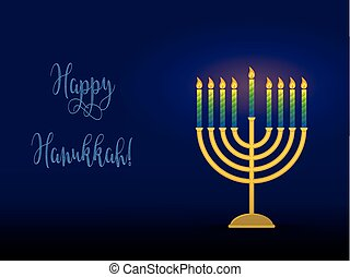 Hanukkah menorah with congratulation, card for jewish holiday