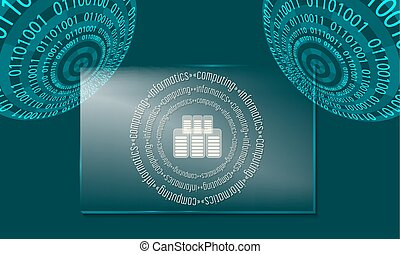 Two abstract circles with binary code and glass panel with...