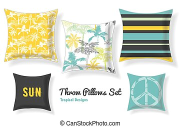 Set Of Tropical Palm Trees Throw Pillows In Matching Unique...
