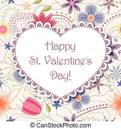Happy St valentines day floral card - Vector Happy St...