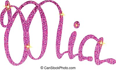 Mia name lettering pink tinsels - Vector Mia name lettering...
