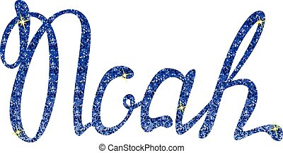 Noah name lettering blue tinsels - Vector Noah name...