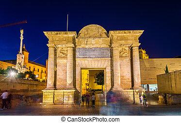 Puerta del Puente, a renaissance gate in Cordoba, Spain -...